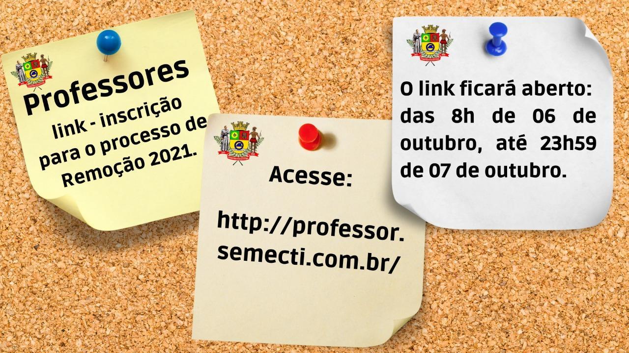 Link para inscrição para o processo de Remoção 2021 - Professores